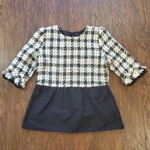 Zara Basics Collection Contrasting Tweed Top Large
